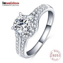 Свадьба Алмаз инкрустация 925 серебряное кольцо ювелирных изделий (SRI0002-Б)