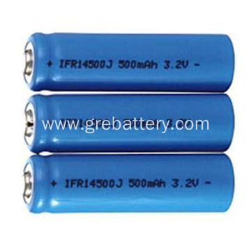 Small lithium battery cell 14500 500mAh 3.2V LiFePO4 cells