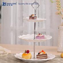 Forma redonda liso design bonito olhar cristal três camadas placa de sobremesa, vintage china bolo de frutas placas