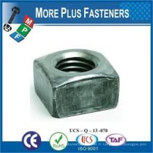 Fabriqué en Taiwan Square Nut Oxide noir Acier inoxydable Zinc fini en acier régulier