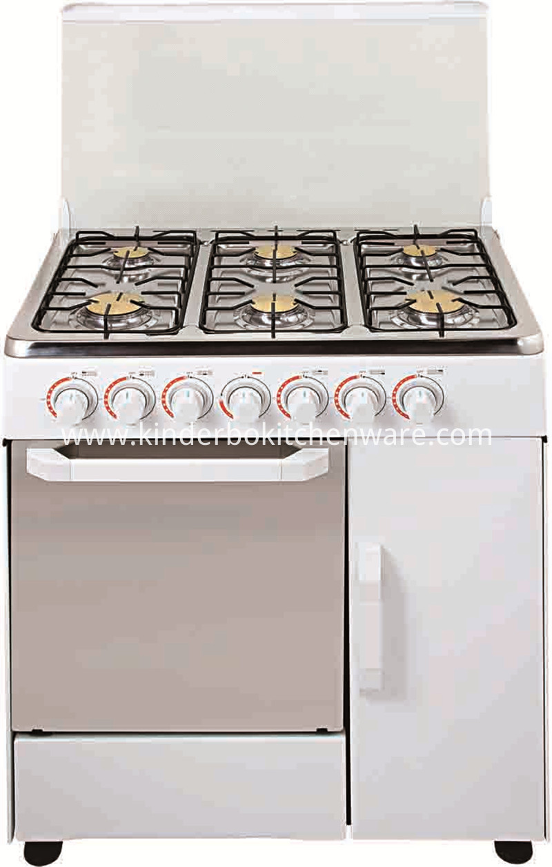 Professional free standing commercial gas cooker stove 6 burner with electric oven