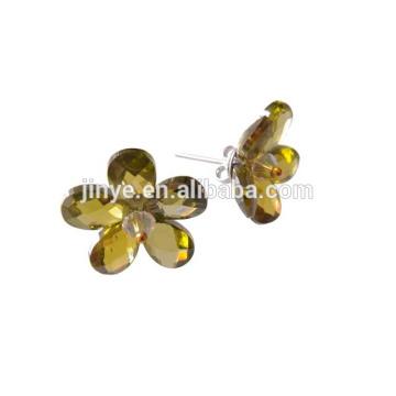 Brincos do parafuso prisioneiro da flor do zircão do verde de Bling da forma para mulheres