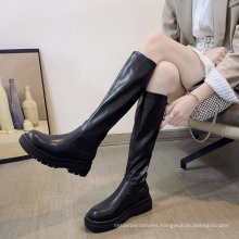 Manufacture high quality women soft pu leather high boots winter warm solid color ladies outdoor casual shoes