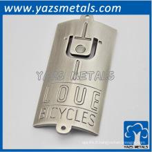 étiquette en métal personnalisée pour cycliste, avec logo personnel