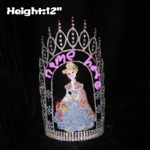 Coronas de reina de concurso de cristal de 12 pulgadas de altura con copos de nieve