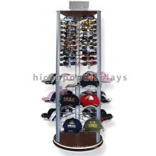 Деревянное Основание Металлической Проволоки Сетки Группа Мода Магазин 3 Боковые Напольная Оборудованная Шляпа Стойки Вращающейся