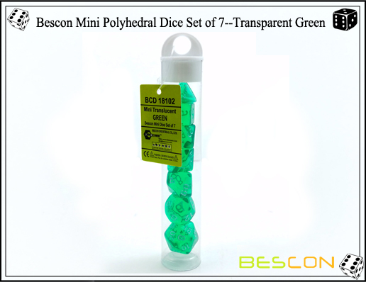 Bescon Mini Polyhedral Dice Set of 7--Transparent Green-7
