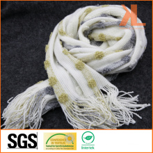 100% Acrylic Fashion White Striped Warp Knitted Scarf with Fringe and Metallic Yarn