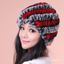 Hot Sell Streifen Pelz Strickmützen Super Soft Winter Warm Hüte Und Caps Für Mädchen