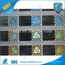 China fornecedor tecnologia especial luz laser código de rascunho etiqueta de holograma para selagem de caixa
