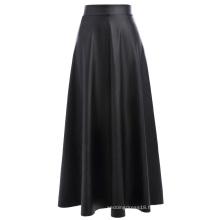 "Kate Kasin Women's High Waist Synthetic Leather 38"" Flared A-Line Skirt KK000600-1"