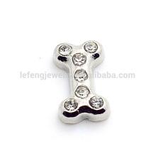 Locket de encantos flutuantes de forma de osso de cão, gem jóias fazendo encantos