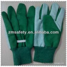 Guantes de jardín de algodón verde con puntos de pvc en palmJRG01