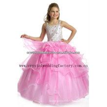 2013 nouvelle arrivée perlée juffée jupe robe de bal robe rose fille boucles d'oreille CWFaf5265