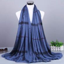 Nueva llegada patrón de moda plaid al por mayor de algodón malaysian musulmán turco hijab bufanda