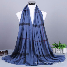 New arrival fashion pattern plaid wholesale cotton malaysian muslim turkish hijab scarf