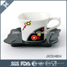 Neue Mini Porzellan quadratische Kaffeetasse und Untertasse, Splitter Design Tasse Set, kleine Tasse