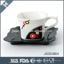 Nuevo mini taza y platillo de café cuadrados de porcelana, conjunto de taza de diseño de astillas, juego de tazas pequeñas