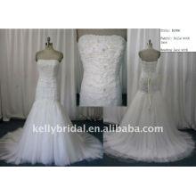 2012 Hot Style Trumpt Strapless Lace Tulle fornecedor de vestidos de casamento por atacado