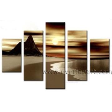 Handpainted Seascape Canvas Art Sunset Landscape Oil Painting (LA5-069)