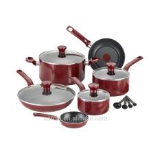 Utensilios de cocina antiadherentes de aluminio con color rojo