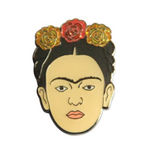 Head Lapel Pin with Glitter Powder Design
