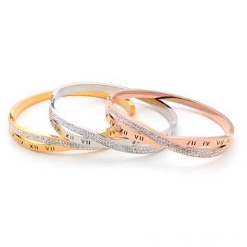 Crossover design zircon inlaid new design bracelet roman numeral bangle 18k  gold plated women