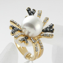 2014 Christmas gold Ring Woman rhinestone pearl flower Engagement Bridal Jewelry finger rings