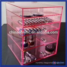 Luxury 3 Drawers Pink Acrylic Makeup Organizer Cube Storage