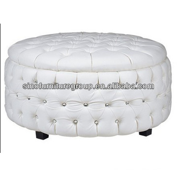 Round ottoman button tufted sofa