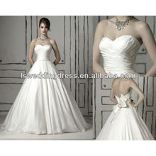 WD1078 clássico corpete decote corpete reuniu no vestido de noiva drapeado cintura vestido de noiva 2014