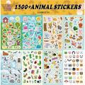Assortiment Set 1300 PCS Collection de thèmes 8 feuilles d'autocollants animaux pour enfants Enfants
