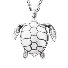 Stainless Steel Jewelry Punk Style New Antique Silver Animal Sea Turtle Pendant Necklace
