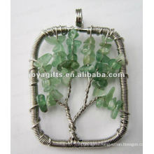 Green Aventurine Chip Stone Beads Lucky tree pendant
