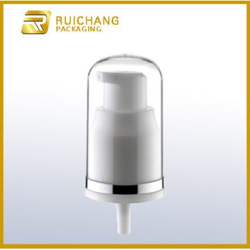 Plastic cosmetic lotion pump with clear AS overcap