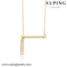 43893 Atacado de alta qualidade design simples estilo ocidental bar osso pingente horizontal colar de corrente de ouro vara