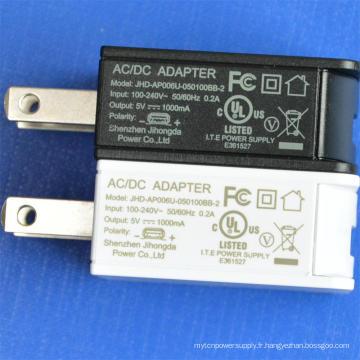 Chargeur secteur USB 5V 1A UL certifié Adaptateur secteur