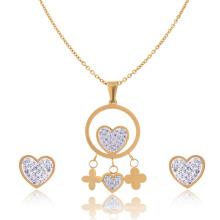 Damen Edelstahl und Kristall Brautschmuck Herz Halskette und Ohrring Set Gold