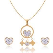 Senhoras De Aço Inoxidável E Cristal Bridal Jóias Coração Colar E Brinco Conjunto De Ouro