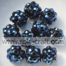 Popular Dark Blue Color 8*10MM Resin Rhinestone Round Beads