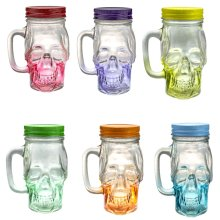 Mason Jar Skull Glass Drinking Mug 12 Ounce with Lid and Handle