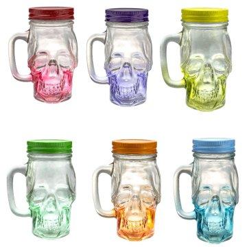 Tasse à boire en verre crâne Mason Jar 12 onces avec couvercle et poignée