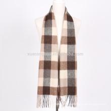 bufanda de lana merino 100% al por mayor en cuadros para hombres