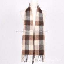 wholesale 100% merino wool scarf in plaid for men