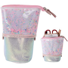 2021 New glitter quicksand style star  Pencil case Clear Jelly custom pencil bag holographic pencil case
