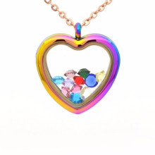 Wholesale fashion design heart shaped glass locket pendant jewelry