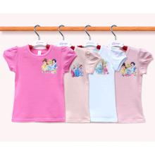 Gewohnheit 100% Baumwollnettes Karikatur scherzt T-Shirt Hersteller-Mädchen-T-Shirt