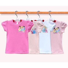Custom 100% Cotton Cute Cartoon Kids Tshirt Manufacturer Girl Tshirt