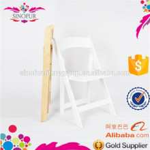 White Commercial Wooden Folding Chair With Vinyl Padded Seat