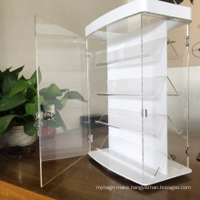 Double Sided 4 Tier  Rotating Clear Acrylic Plastic Showcase  Watch/Jewelry Display Box with Lock